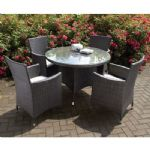 DARK GREY RATTAN PC SET ROUND TABLE